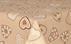 Love Hearts Beige PVC Tablecloth 160cm Round