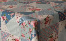 Blue Patchwork Rose PVC Packaged Tablecloths